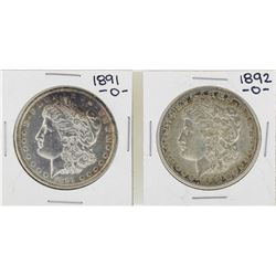 Lot of 1891-O & 1892-O $1 Morgan Silver Dollar Coins