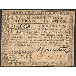 July 2, 1780 $5 Rhode Island Colonial Currency Note
