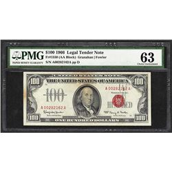 1966 $100 Legal Tender Note Fr.1550 PMG Choice Uncirculated 63