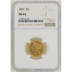 1892 $5 Liberty Head Half Eagle Gold Coin NGC MS62