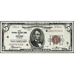 1929 $5 Federal Reserve Bank Chicago, IL Note