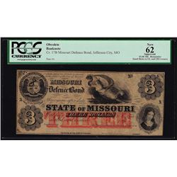 1860's $3 State of Missouri Defence Bond Obsolete Note PCGS New 62 Apparent