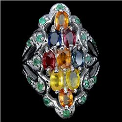 Natural Fancy Sapphire & Emerald Ring