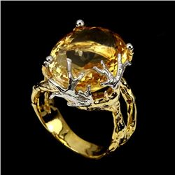 Natural Handmade Oval Yellow Citrine 45.94 Cts  Ring