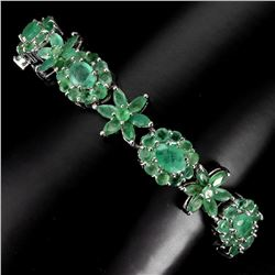 Natural Top Rich Green Emerald 114.34 Ct Bracelet