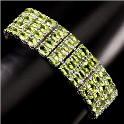 Natural Top Rich Green Peridot 296.64 Ct Bracelet