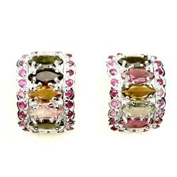 Natural Marquise Fancy Tourmaline & Ruby Earring