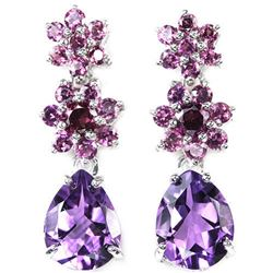 NATURAL PURPLE AMETHYST & RHODOLITE GARNET Earring