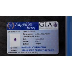 purple Sapphire, untreated, loose | GIA 0.61ct