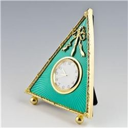 """5"""" Green Triangle Enameled Guilloche Russian Antique Style Faberge Clock"""