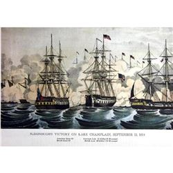 After Nathaniel Currier, Fine Art Modern Lithograph, Macdonough's Victory On Lake Champlain - 1814