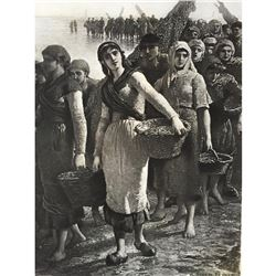 1880's Photogravure Print, Fishers at Low Tide