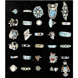 30 Native American Zuni and Navajo Silver Rings