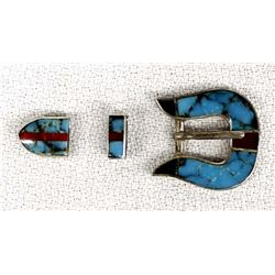 Navajo Sterling Inlay Turquoise Child's Buckle