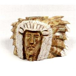 Native American Carved Alabaster Chief's Head