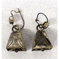 Navajo Old Pawn Sterling Silver Cowbell Earrings
