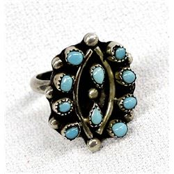 Native American Zuni Sterling Turquoise Ring