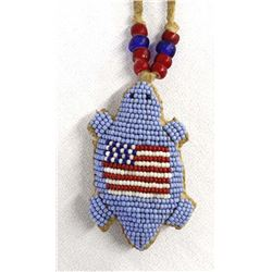 Sioux Beaded Turtle Fetish Necklace