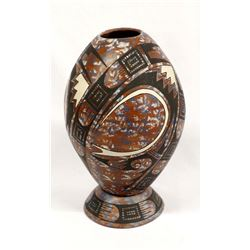Mata Ortiz Marbleized Clay Pottery Jar by Y. Soto