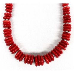 Beautiful Coral Disc Necklace