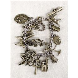 Sterling Silver Cowgirl Charm Bracelet