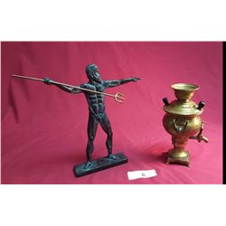 Miniature Brass Urn & Poseidon Greek God Figure
