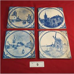 4 Early Dutch Tiles Signed S.O.F. Vorm
