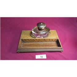 Antique Oak, Crystal & Brass Inkwell