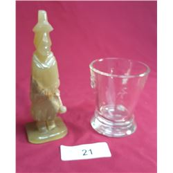 Onyx Figure & Goblet Signed Paris Musees