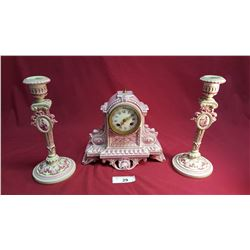 Victorian Clock & Matched Candle Sticks