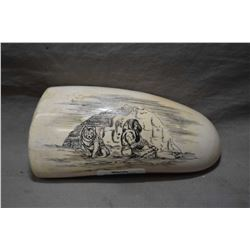 Large Ivory Whalestooth Scrimshaw depicting Inuit and Dog in front of Igloo