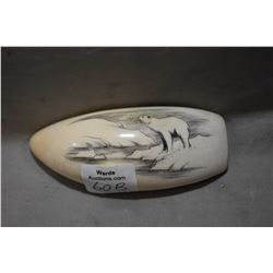 Large Whalestooth  Scrimshaw depicting Polar Bear on ice flow