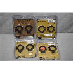"Bag Lot : Four New in Pkgs Leupold Matte Finished Rings [  (2 ) 1 "" Medium - 1  1"" Low - 1 Standard"