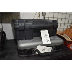 Lot of Two Pistol Cases [ one is large foam lined plastic - one is aluminum luggage style pistol cas
