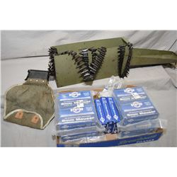 Lot of Two Items : Small Green Metal Military Ammo Can : with three .8 MM Belts, one starter belt, a