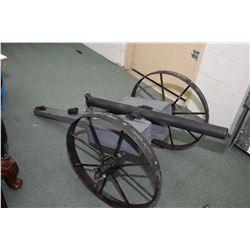 "Hand Made Cannon  2"" Diameter Barrel 35"" Long w/ approx. 24"" Wheels [ purportedly shoots half a mile"