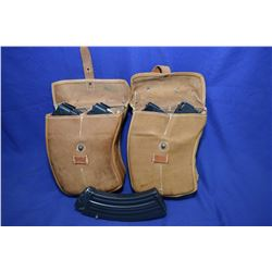 Lot : Two Leather Pouches w/ mags Lot : Two Leather Pouches with Four Pinned Mags in each