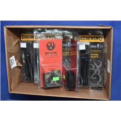 Box Lot : Browning Mags etc. Box Lot : Five New in Pkg Brown 1911 .22 Cal Mags - Two New in Pkgs Rug