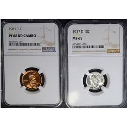 2-NGC GRADED COINS: