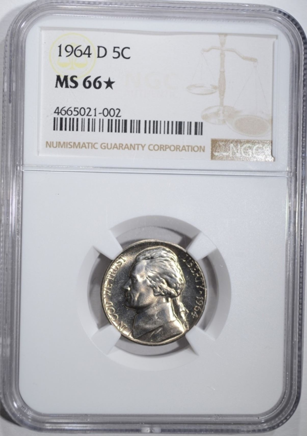 Image 1 1964 D JEFFERSON NICKEL NGC MS 66 STAR