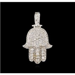 2.10 ctw Diamond Hamsa Pendant - 14KT White Gold