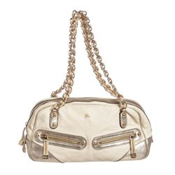 Gucci Ivory Metallic Gold Leather Princy Boston Bag