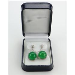 Ladies 925 Silver Earrings with 2 Prong Set, Round