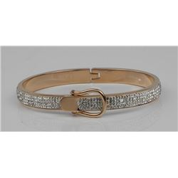 Rose Gold Plate over Silver Bangle Bracelet with S