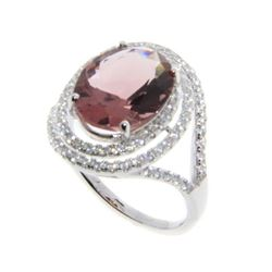 925 Sterling Silver Ring - 4ct Oval Quartz with Be