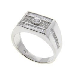 Gents 925 Silver Ring Pave Set with Baguettes Swar