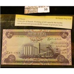 50 Dinars Iraq Banknote, depicts Grain silo ar Basrah. Working at full capacity the facility can off