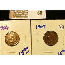 1904 and 1907 Indian Head Cents