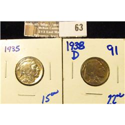High Grade 1935 P and 1938-D Buffalo Nickels