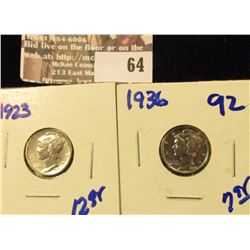 1923 P and 1936 P Mercury Dimes